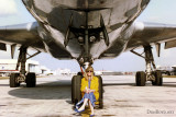 1992 - Brenda Reiter Goto sitting under the nose of Varig Airlines DC10-30 PP-VMW at Miami International Airport