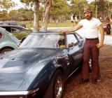 1979 - Bob Zimmerman admiring parked Corvette