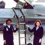 1992 - Diane Dean and Annette Fox with F-16 diversion to Miami International Airport