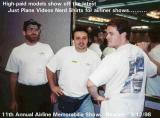1998 - Bill Hough, Kevin Cook and Joe Pries modeling new Just Plane Videos t-shirts at Newark