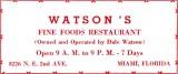 1952 - Watson's Fine Foods Restaurant
