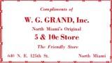1952 - W. G. Grand, Inc., North Miami's Original 5 & 10c Store