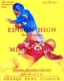 1952 - 30th Annual Thanksgiving Game, Miami Edison versus Miami High at the Orange Bowl program