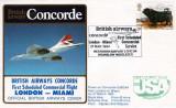 1984 - British Airways Concorde First Flight to Miami from London postal cachet