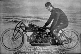 1920s - Glenn Curtiss on motorbike that set the world's record for one-mile speed on Ormond Beach, Florida