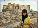 My girl with Caryatides (Maidens) in the background