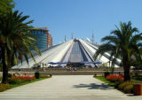 'pyramid' built by crazy daughter of commie dictator enver hoxha (formerly hoxha museum, now disco and cafe)