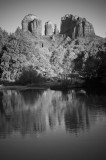 Catherdral Rock Reflection Black and White