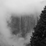 Upper Yosemite Fall in the Mist B&W