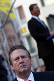 Guido Westerwelle (blurry, in the back) and his bodyguard