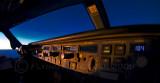 Glareshield in the setting sun