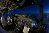 Flight over Madrid after sunset
