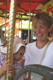 audrey and kimberley on merry-go-round