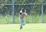 adam makes a catch in centerfield