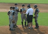coach rumberger visits the mound