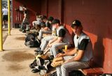 before the game in the dugout