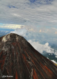 Lava traces on Mount Mayon's tip