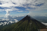 Perfect cone-shaped Mount Mayon from a chopper