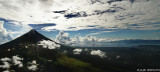 Panoramic view of Mount Mayon in a chopper