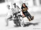 My first taste of the local transportation called SKYLAB (motorcycle with wood planks tied together as passenger seats), a death defying experience in Surigao del Sur back in 2008 (in photo is Surigao del Sur Provincial Tourism Officer Lala Ambray. Please see my back view in another photo.