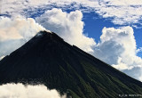 Mayon's blackened crater tip