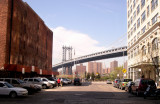 The Manhattan Bridge, looking north on Main Street at its intersection with Water Street - in the DUMBO area of Brooklyn