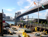The upscale River Cafe near the Brooklyn Bridge - as seen from the Fulton Ferry Landing Pier in Brooklyn