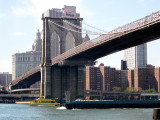 The Brooklyn Bridge and Manhattan as seen from the Fulton Ferry Landing Pier in Brooklyn.
