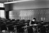 Richard's good friend Phil - studying during a break between classes at Erasmus Hall High School. (1959)
