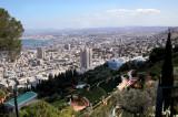 The Baha'i Gardens. Haifa and the Mediterranean Sea (Bay of Haifa) are in the background