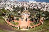 The Baha'i Gardens in Haifa. Haifa and the Mediterranean Sea are in the background.