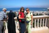 Judy and Orna in the Baha'i Gardens in Haifa. Haifa and the Mediterranean Sea are in the background.