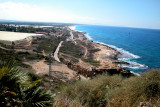 The Israeli coast from Rosh Hanikra looking south along the Mediterranean Sea - at the Lebanese border.