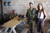 Rosh Hanikra: Judy with two Israeli soldiers in a tunnel built by the British during WWII - at the Lebanese border.
