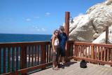 Judy and Richard at Rosh Hanikra - at the Lebanese border marked by the buoys in the background.