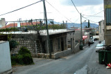 We drove up this narrow street in this Arab village to reach a road on the mountain above it.