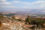 Hula Valley - photo from the Naftali Mountains. Golan Heights  - in the background on the other side of the Valley to the east