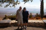 Moshe & Richard in the Neftali Mountains overlooking the Hula Valley with the Golan Heights across the Valley in the background