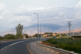 On the eastern side of the Hula Valley approaching the Golan Heights, with Mt. Hermon in the background