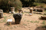 Banias: Artifacts from Roman Palace of Agrippas built nearby – piece in foreground is decorated altar with basin on top.