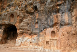 Banias: Closeup of niches carved out by Romans – niches part of a courtyard  dedicated to the worship of Pan.