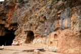 Banias Cave & niches carved out by Romans: Niches part of a courtyard  dedicated to the worship of Pan.