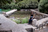 Judy at the Banias Spring - one of the principal sources of water for the Jordan River.