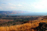 The Sea of Galilee with mountains in Jordan in the background.