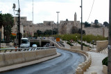Approaching the Old City in Jerusalem. The wall surrounding the Old City is seen.