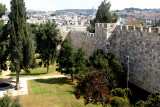 The Old City Wall and an area of Jerusalem outside the Wall.