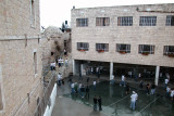Jerusalem: A schoolyard beside the City Wall in the Christian Quarter of the Old City. Photo taken from the City Wall.