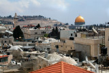 Muslim Quarter of the Old City: From the top of the Old City Wall. Also seen - Dome of the Rock and the Mount of Olives