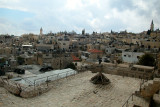 Jerusalem: The Muslim Quarter of the Old City as seen from the top of the Old City wall.
