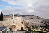 Jerusalem: The Old City – The Jewish Quarter. The Mount of Olives is in the background.